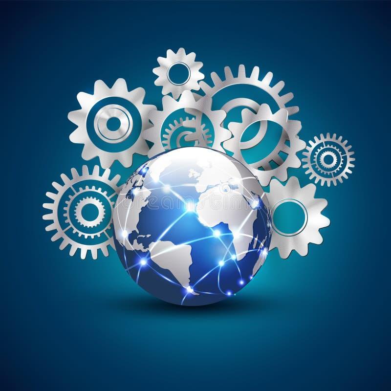 Światowa technologia i komunikacja z pojęciem, wektorem & ilustracją przekładni tła, ilustracji
