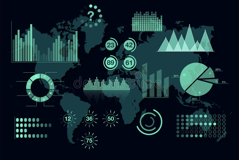 Światowe analityka infographic Set przejrzyści wykresy i mapy, deska rozdzielcza szablon royalty ilustracja