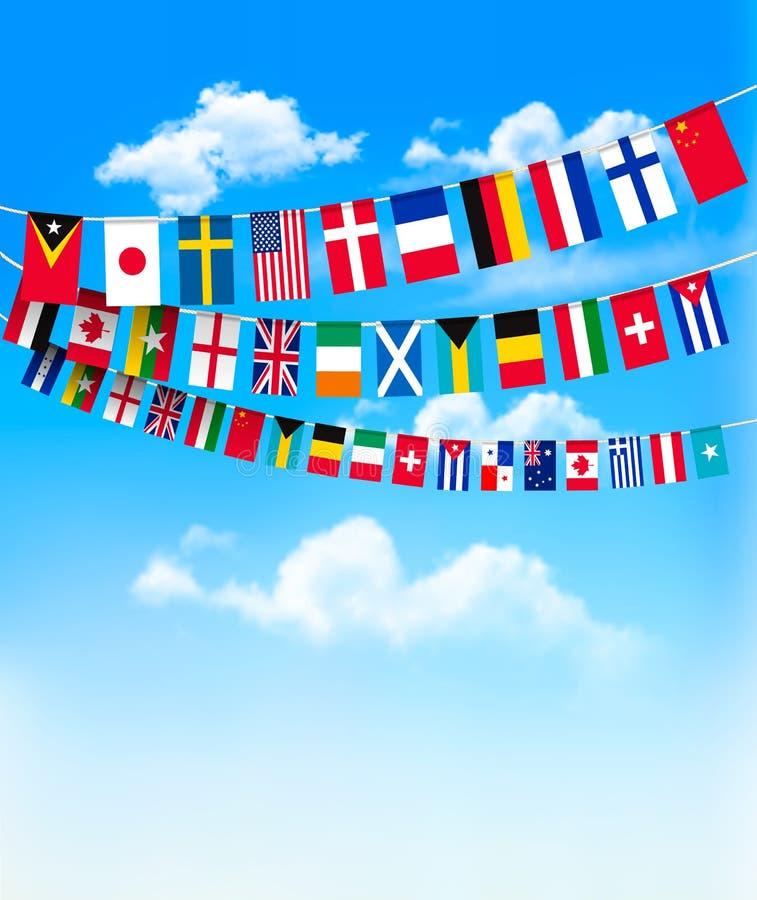 Światowe chorągiewek flaga na niebieskim niebie ilustracja wektor