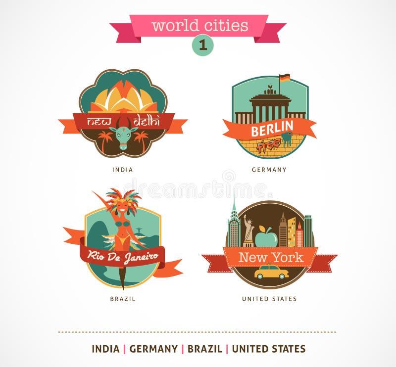 Światowe miasto etykietki - Delhi, Berlin, Rio, Nowy Jork ilustracja wektor