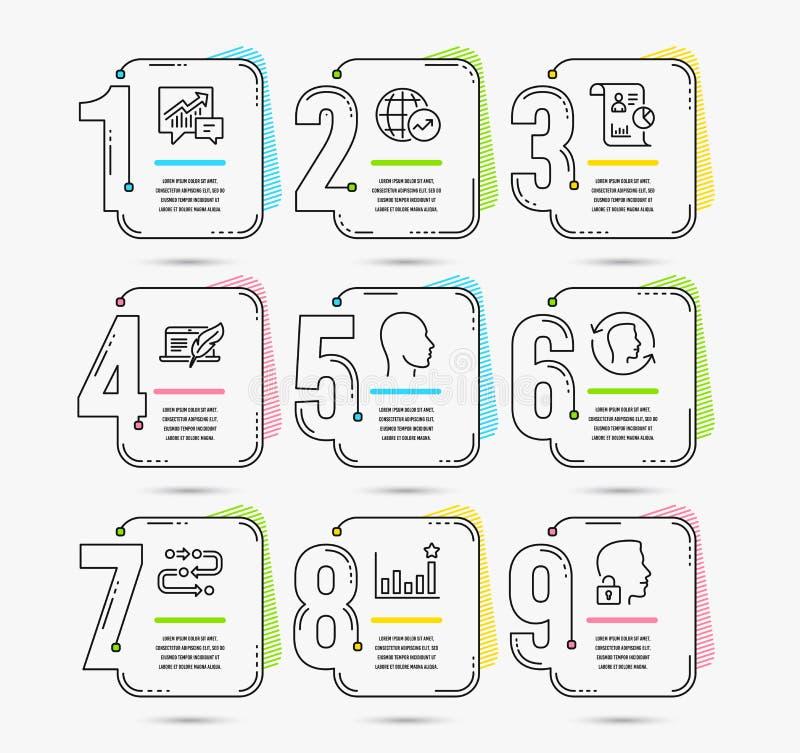 Światowe statystyki, Copyright laptop i księgowość ikony, Głowy, twarzy id, i skuteczność znaki wektor ilustracji