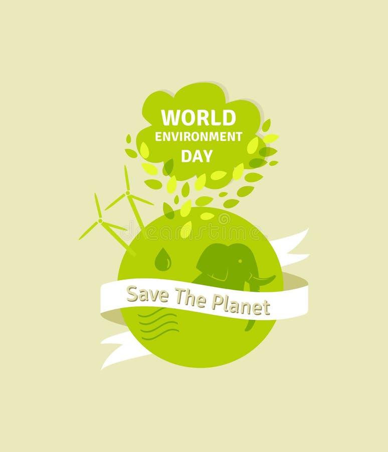 Światowego środowiska dnia ilustracja Zielona Eco ziemia również zwrócić corel ilustracji wektora royalty ilustracja