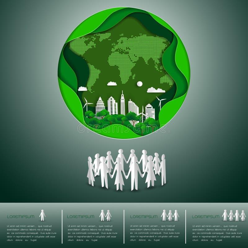 Światowego środowiska dnia pojęcie, papierowego rzemiosła ziemi mapy kształt z miastem na zielonym tle ilustracji