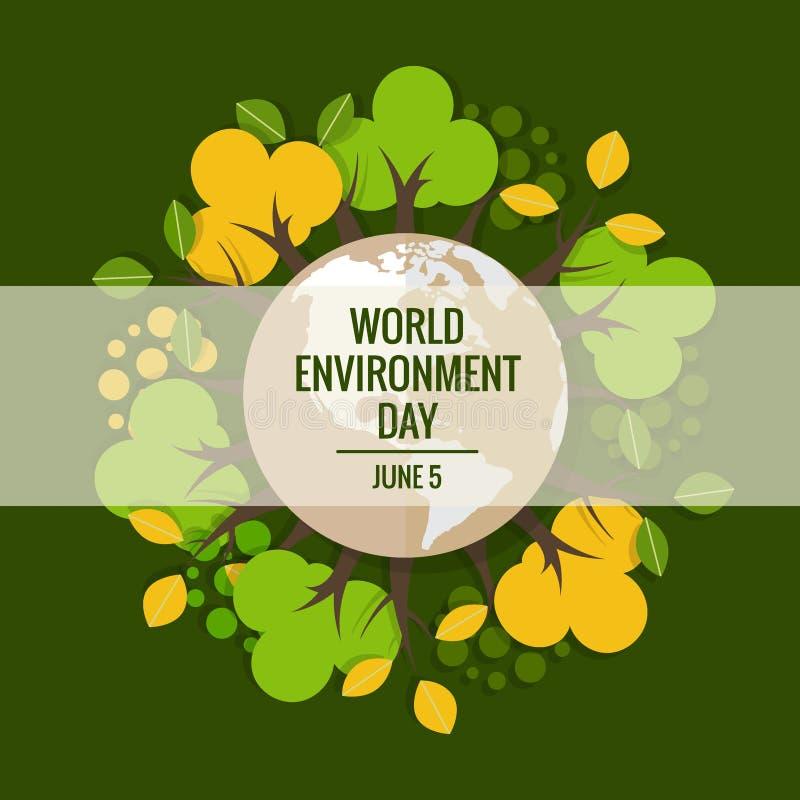 Światowego środowiska dnia pojęcie Zielona Eco ziemia Wektorowy illustrat ilustracja wektor