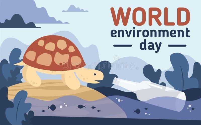 Światowego środowiska dnia zanieczyszczenia plastikowa pocztówka royalty ilustracja
