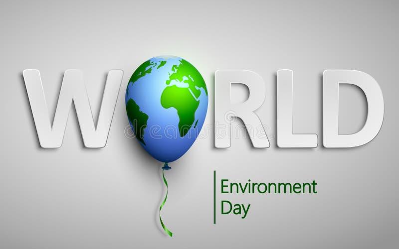 Światowego środowiska dzień z planety ziemi światu balonem Wektorowa ilustracja dla ekologii, środowisko, zielona technologia royalty ilustracja