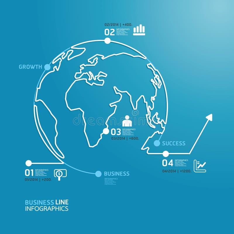 Światowego biznesu diagrama kreskowego stylu szablon. ilustracja wektor