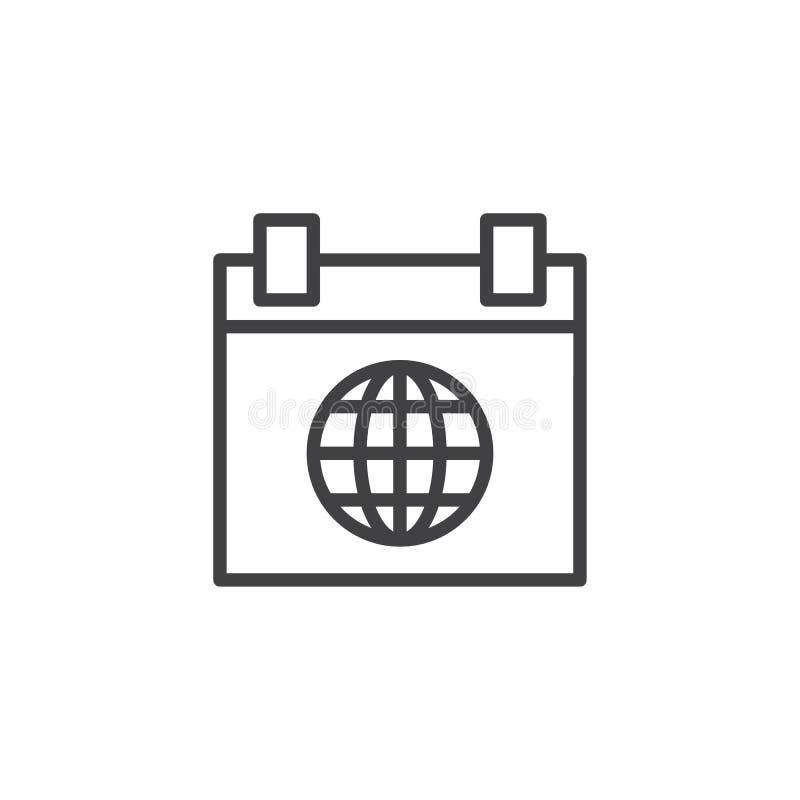 Światowego kalendarza konturu ikona ilustracja wektor