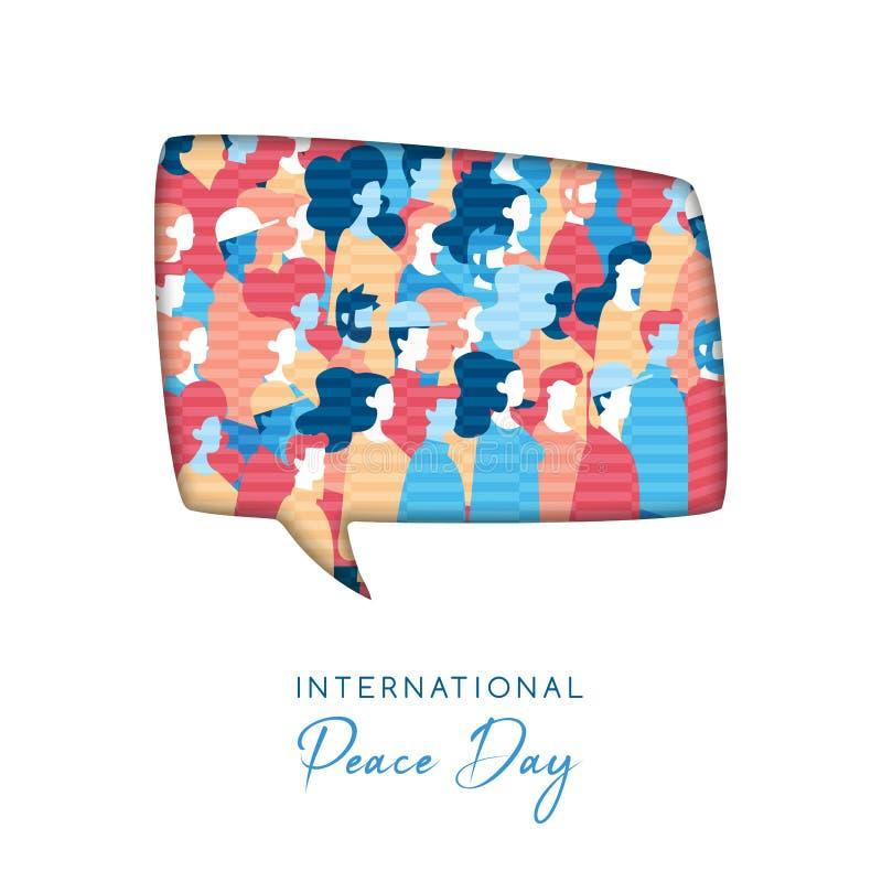 Światowego pokoju dnia karta dla różnorodnych ludzi jedność royalty ilustracja