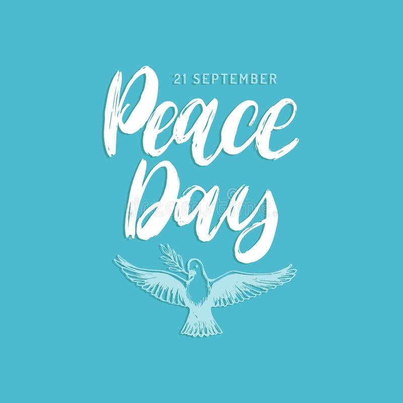 Światowego pokoju dzień, plakat z ręcznie pisany chrzcielnicą Wektorowa ilustracja rysująca gołąbka z palmową gałąź dodatkowy kar ilustracja wektor