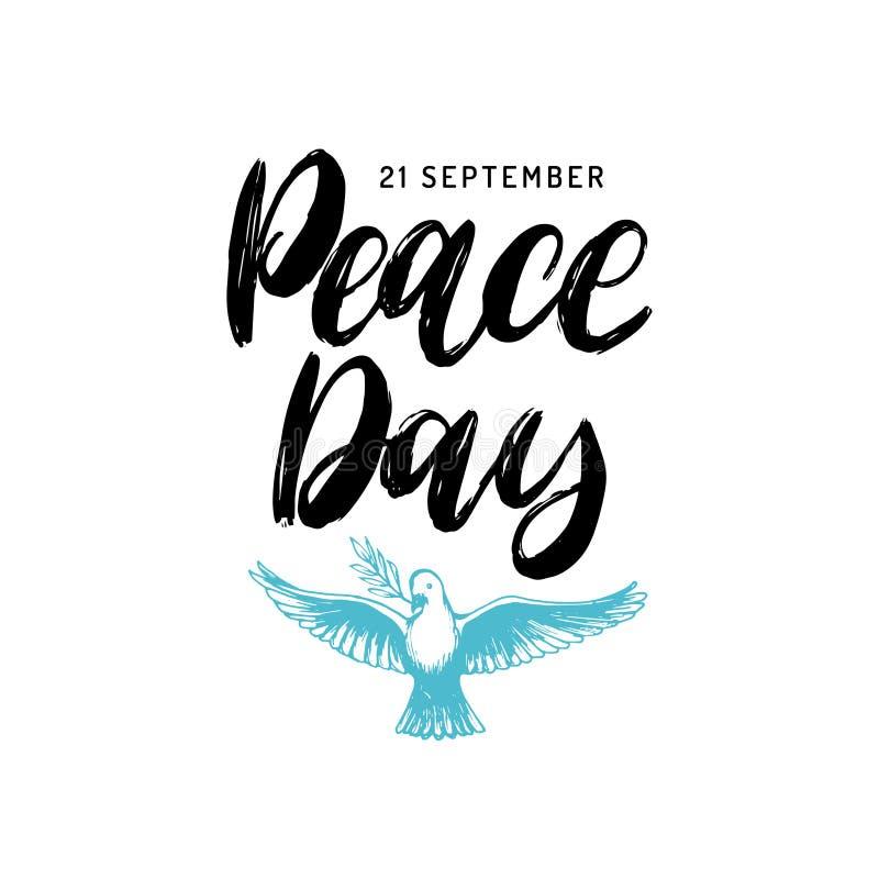Światowego pokoju dzień, plakat z ręcznie pisany chrzcielnicą Wektorowa ilustracja rysująca gołąbka z palmową gałąź dodatkowy kar royalty ilustracja