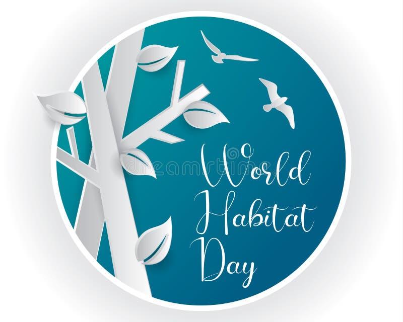 Światowego siedlisko dnia siedliska ilustracyjnego światowego dnia siedliska dnia papieru ilustracyjna wektorowa światowa sztuka ilustracji