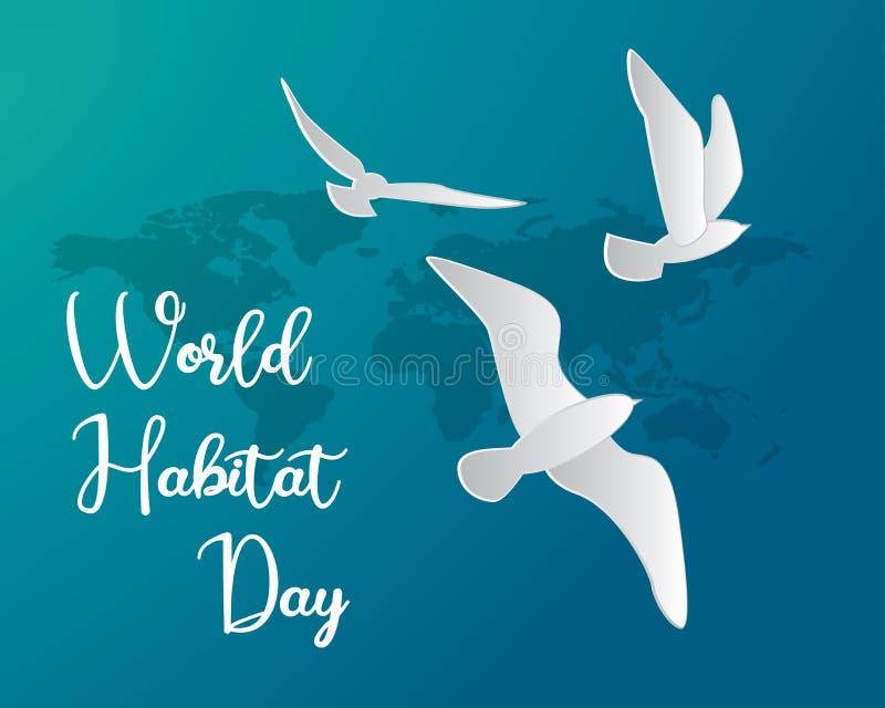 Światowego siedlisko dnia siedliska ilustracyjnego światowego dnia siedliska dnia papieru ilustracyjna wektorowa światowa sztuka ilustracja wektor