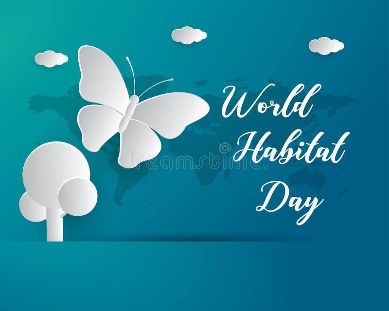 Światowego siedlisko dnia siedliska ilustracyjnego światowego dnia siedliska dnia papieru ilustracyjna wektorowa światowa sztuka royalty ilustracja