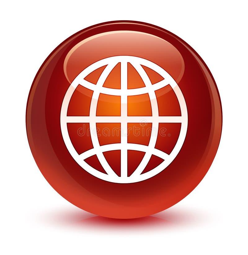 Światowej ikony szklisty brown round guzik royalty ilustracja