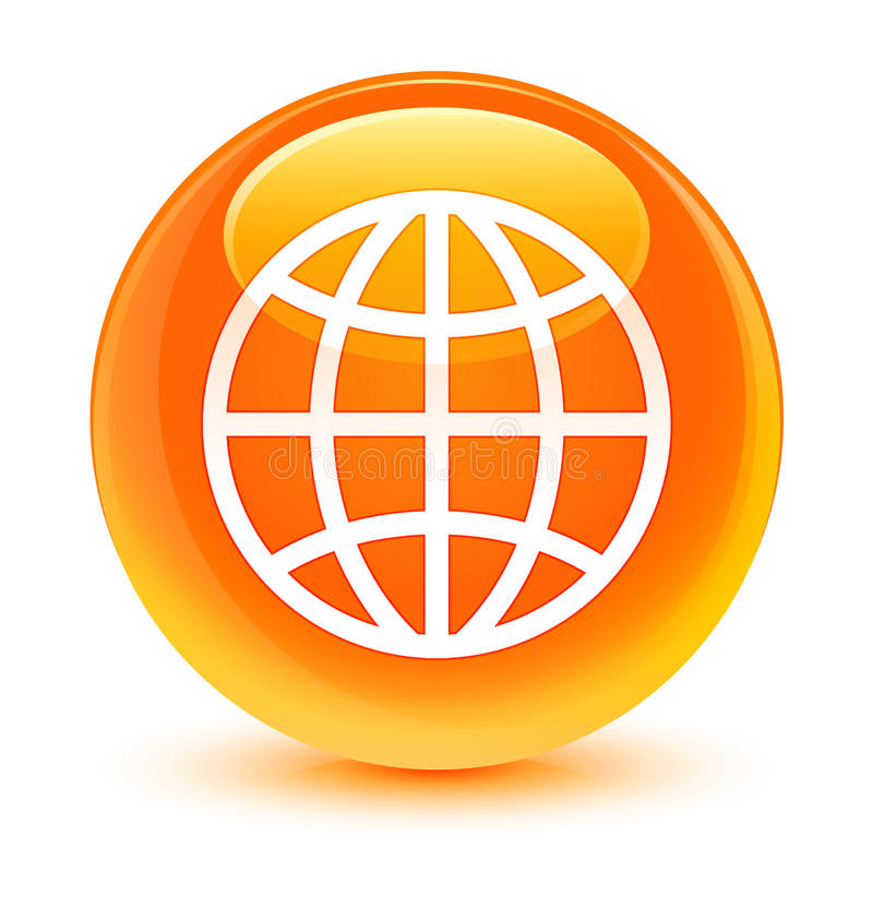 Światowej ikony szklisty pomarańczowy round guzik royalty ilustracja
