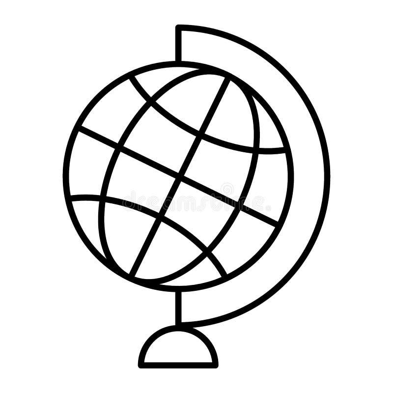 Światowej kuli ziemskiej cienka kreskowa ikona Stołowej kuli ziemskiej wektorowa ilustracja odizolowywająca na bielu Planety mapy ilustracji