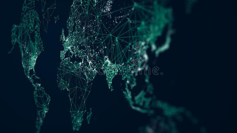 Światowej mapy abstrakcjonistyczny połączenie z internetem, lekkie miastowe komunikacje, monitoru ekran w perspektywie royalty ilustracja