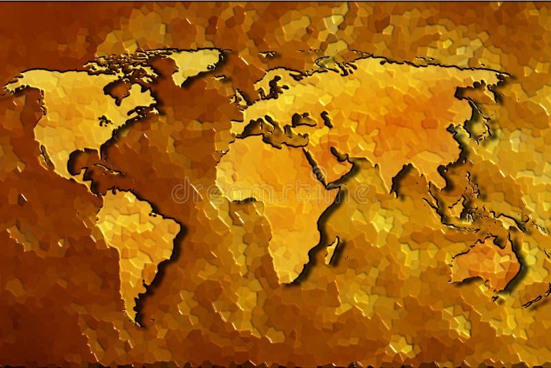 Światowej mapy abstrakcjonistyczny złocisty tło ilustracja wektor