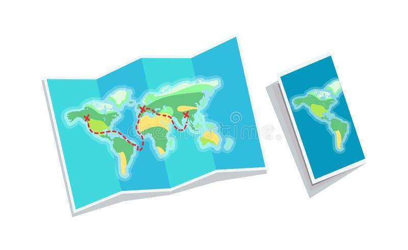 Światowej mapy broszura Odizolowywająca na Białym tle royalty ilustracja