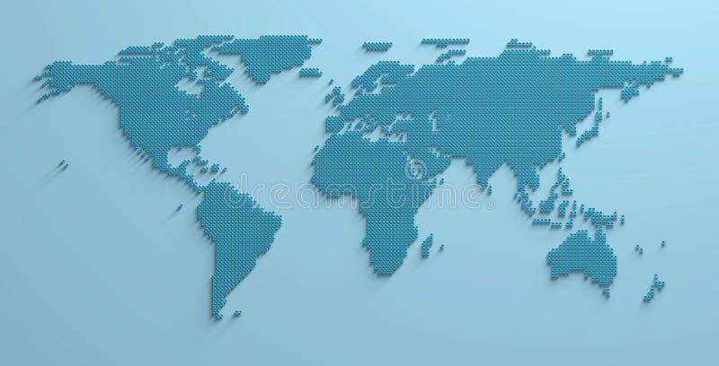 Światowej mapy 3D kształta wizerunku ilustracja ilustracja wektor