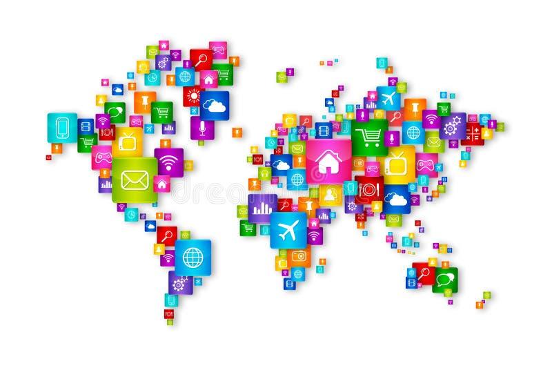 Światowej mapy Desktop Latające ikony inkasowe ilustracji
