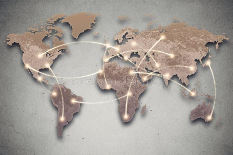 Światowej mapy i związku linie Ogólnospołeczni środki, sieć fotografia stock