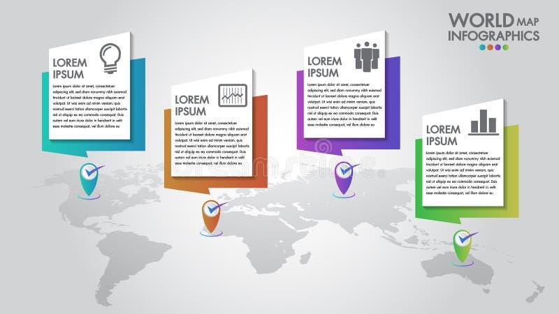 Światowej mapy infographics 4 biznesowych opcji wektorowa ilustracja i projekta szablon z pointer ocenami Może używać dla komunik ilustracji