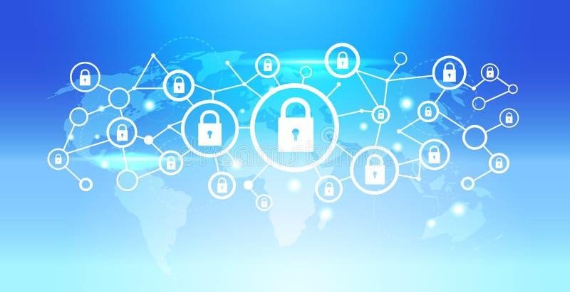 Światowej mapy kłódki ikony interfejsu dane prywatności ochrony sieci związku futurystycznego pojęcia tła błękitny mieszkanie ilustracja wektor