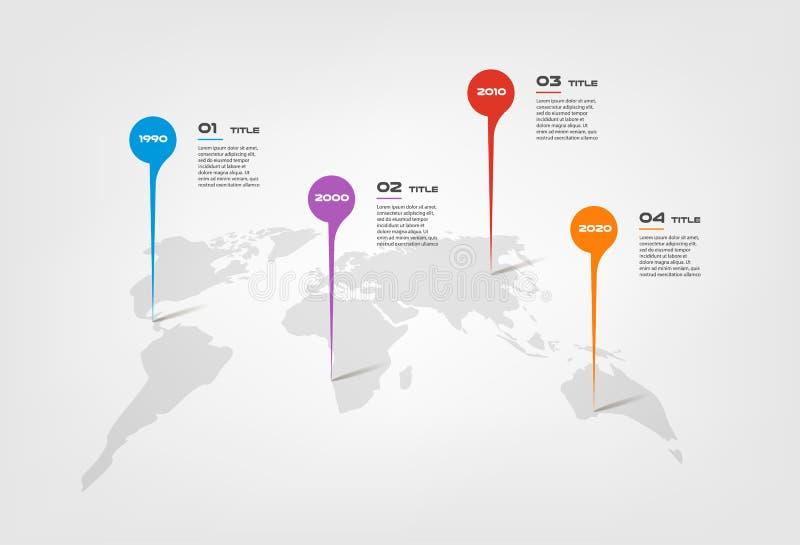 Światowej mapy koloru infographics krok po kroku w szeregu okręgu Element mapa, wykres, diagram z 4 opcjami - części ilustracja wektor