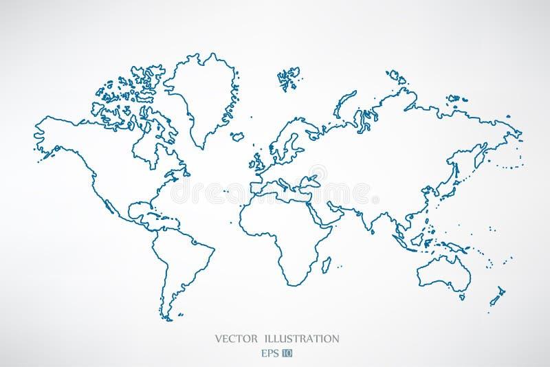 Światowej mapy kontur royalty ilustracja