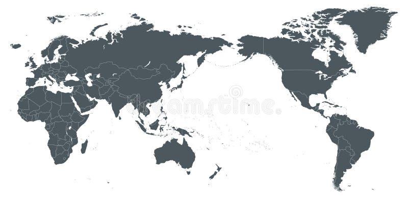 Światowej mapy konturu konturu sylwetki granicy - Azja w centrum royalty ilustracja