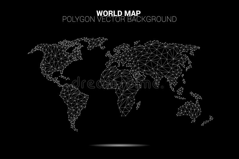 Światowej mapy kropki związku linii wielobok: pojęcie cyfrowy świat, dane związek ilustracja wektor