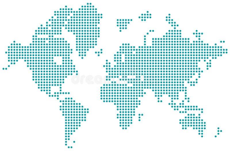 Światowej mapy kropkujący odosobniony wektor royalty ilustracja