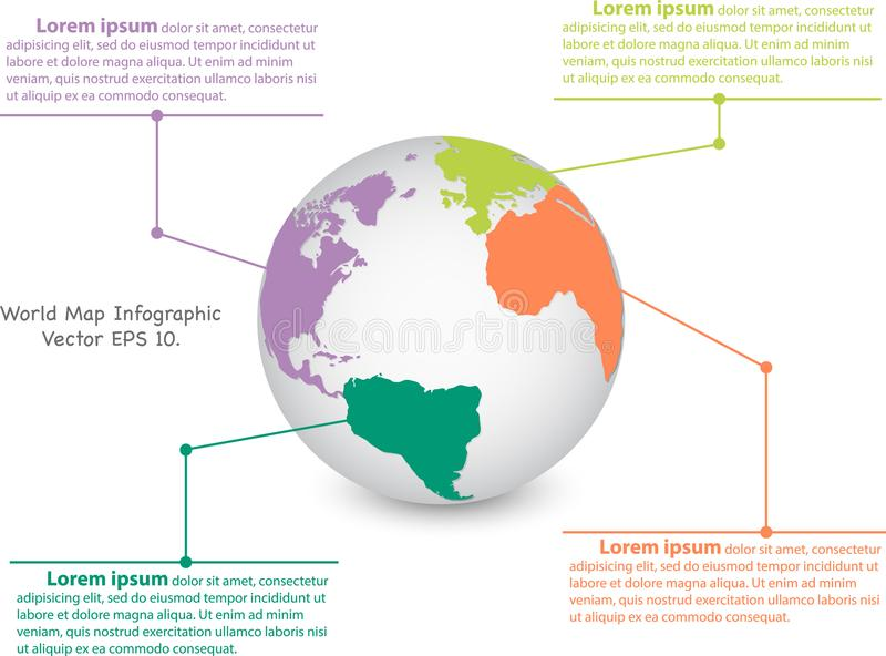Światowej mapy kuli ziemskiej ewidencyjna grafika dla komunikacyjnego pojęcia ilustracja wektor