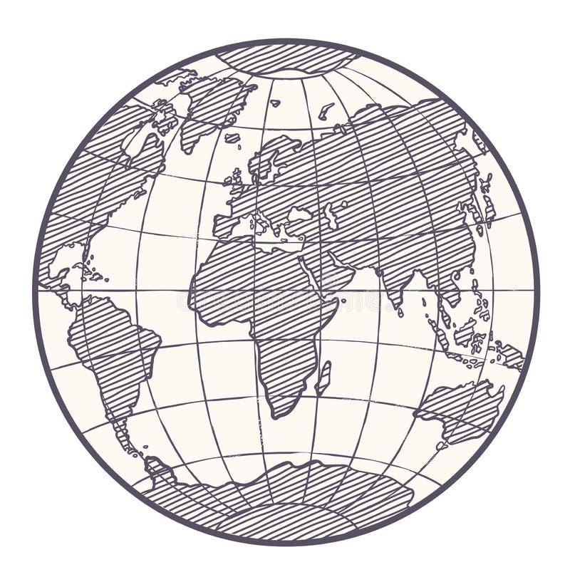 Światowej mapy kuli ziemskiej nakreślenia wektor ilustracja wektor