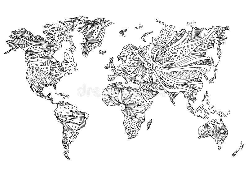 Światowej mapy kwiatu kwiecistego projekta ręka rysujący wektor royalty ilustracja