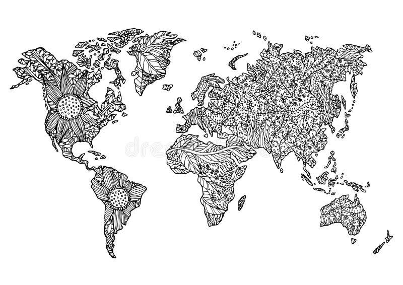 Światowej mapy kwiatu kwiecistego projekta ręka rysujący wektor ilustracja wektor