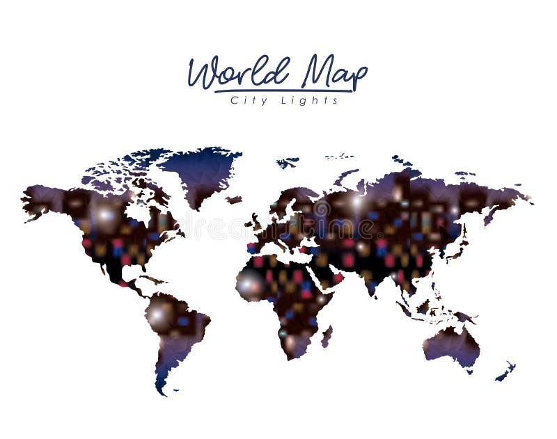 Światowej mapy miasta światła w kolorowej sylwetce royalty ilustracja