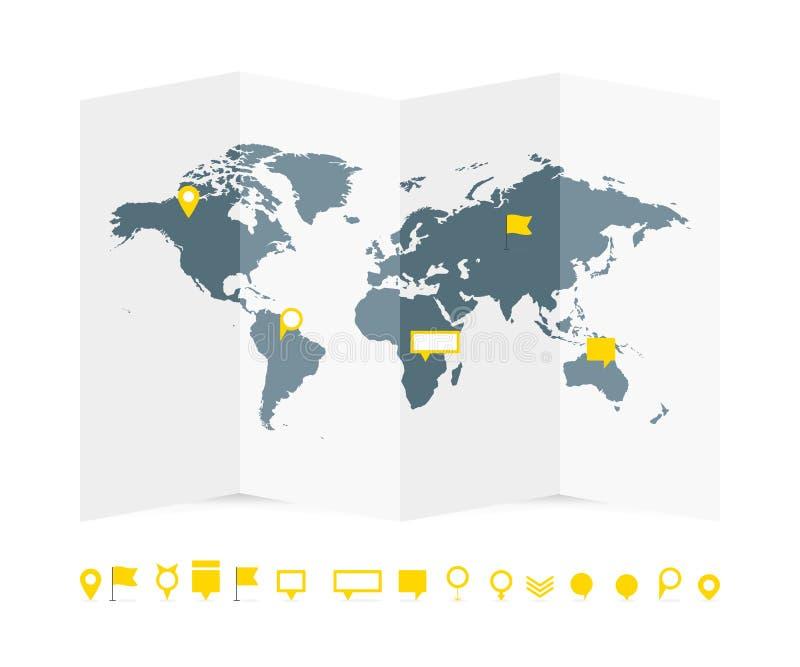 Światowej mapy papierowy przewdonik z szpilkami ustawia wektorową ilustrację ilustracji