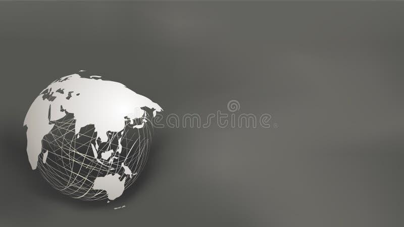 Światowej mapy papieru cięcia styl na białej siatki sferze na zmroku popielatym i czarnym tle royalty ilustracja