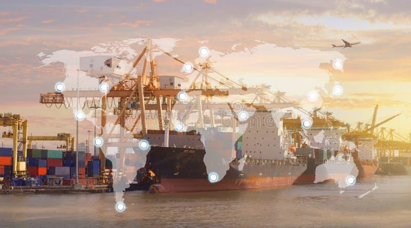 Światowej mapy portów usługa wysyłki linii tło obrazy stock