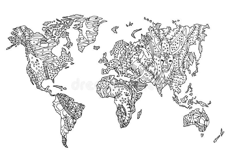 Światowej mapy przyrody kwiatu rysunku zwierzęcego dzikiego kwiecistego projekta wektorowa ręka rysująca ilustracji