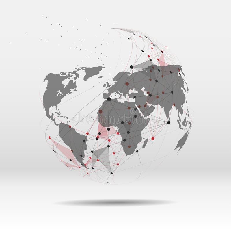 Światowej mapy punkt, linia, skład globalny ilustracji