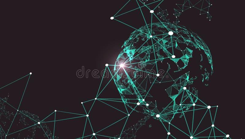 Światowej mapy punkt, linia, skład, reprezentuje globalnego ilustracja wektor