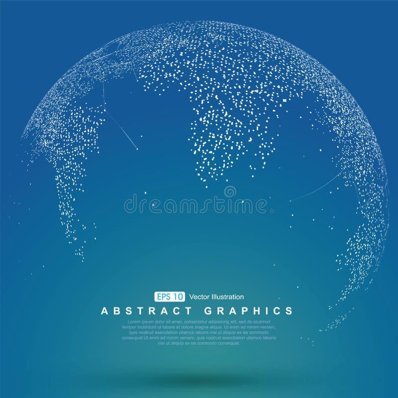 Światowej mapy punkt, linia, skład, reprezentuje globalnego ilustracji