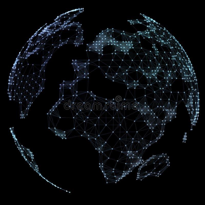 Światowej mapy punkt, linia, skład, reprezentuje globalnego, sieć związek, międzynarodowy znaczenie ilustracja wektor