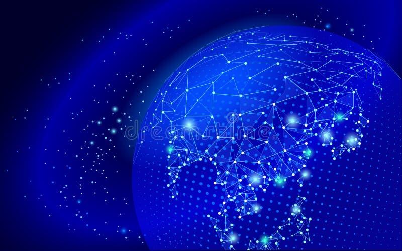 Światowej mapy punkt, linia, skład, reprezentuje globalnej, Globalnej sieci związek, międzynarodowy znaczenie ilustracja wektor