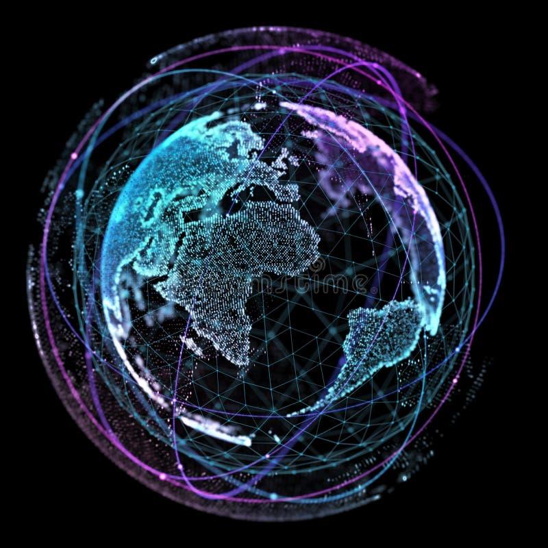 Światowej mapy punkt, linia, skład, reprezentuje globalnej, Globalnej sieci związek, międzynarodowy znaczenie Pojęcie royalty ilustracja