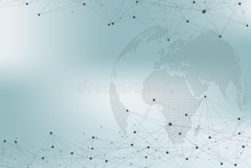 Światowej mapy punkt z globalnym technologia networking pojęciem Cyfrowych dane unaocznienie Wykłada plexus Duży dane tło ilustracja wektor